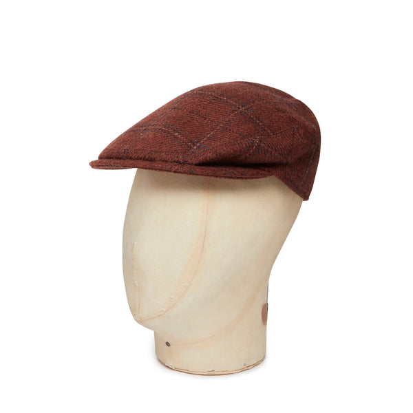 Brick With Blue & Cream Over Check Made In England Woollen Flat Cap