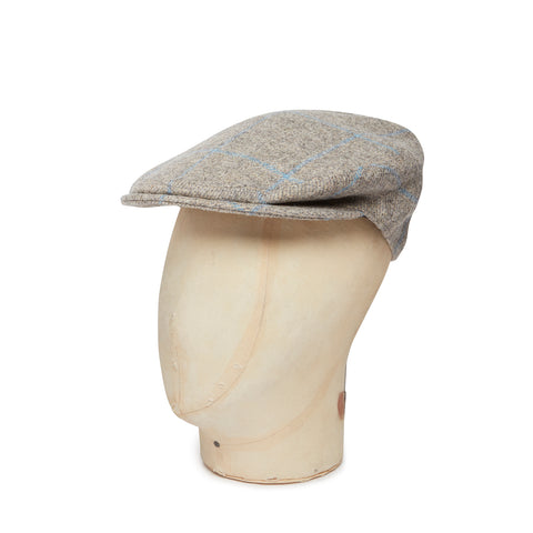 Grey With Sky Blue Over Check Made In England Woollen Flat Cap