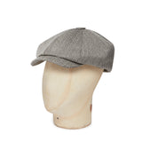 Grey Herringbone Made In England Woollen Gatsby Cap