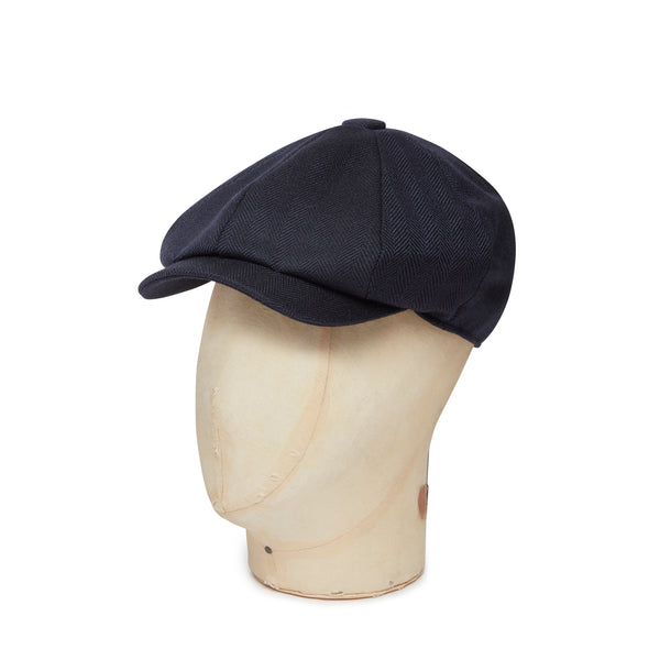 Navy Herringbone Made In England Woollen Gatsby Cap