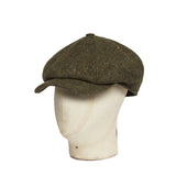Moss Green Donegal Tweed Wool Newsboy Cap