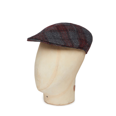Grey & Wine Check Woollen Roma Cap