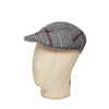 Grey & Wine Houndstooth Check Woollen Roma Cap