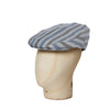 Blue Oxford Stripe Cotton Flat Cap