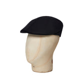 Plain Midnight Black Linen Roma Cap