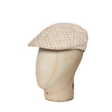 Beige & Cream Open Check Cotton & Linen Roma Cap