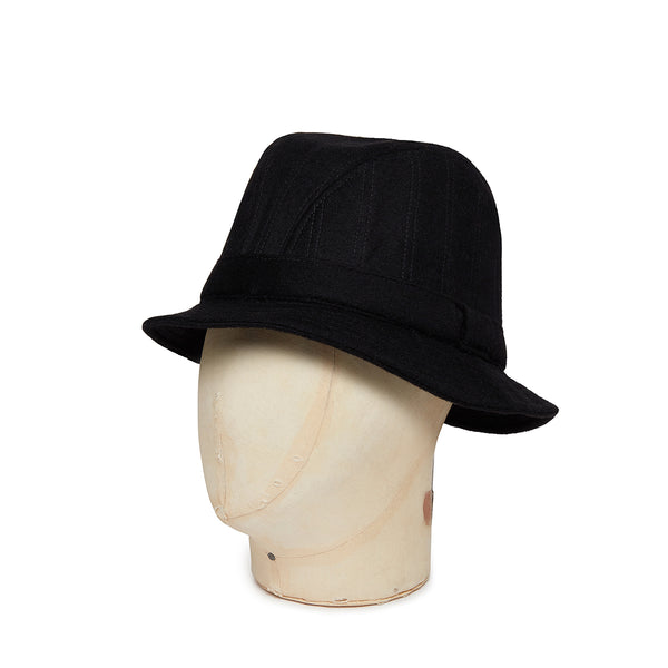 Plain Black Woolen Down Hat