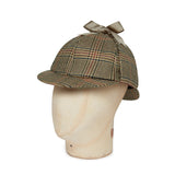 Biege Houndstooth With Navy Overcheck Woolen Deerstalker