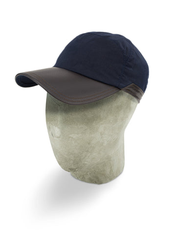 Navy Waxed Cotton Bill Cap