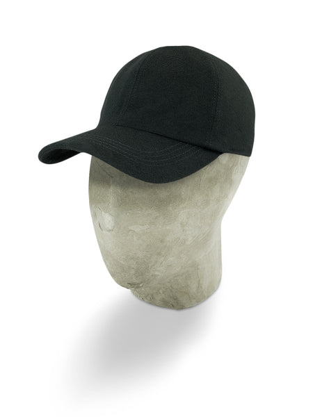 Black Herringbone Wool Baseball Cap