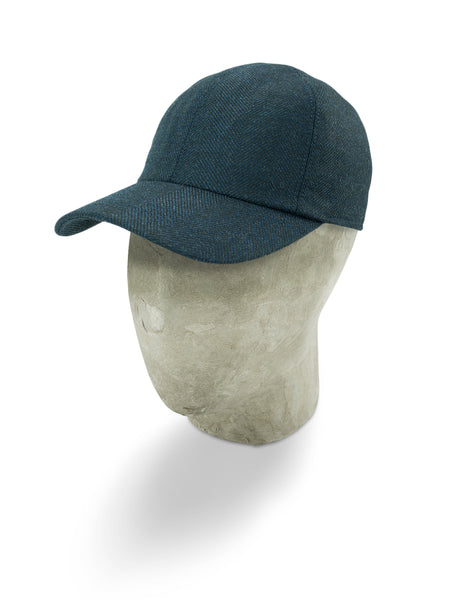 Blue Herringbone Wool Baseball Cap