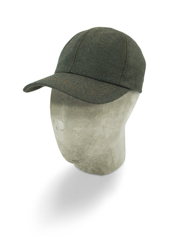 Brown Herringbone Wool Baseball Cap