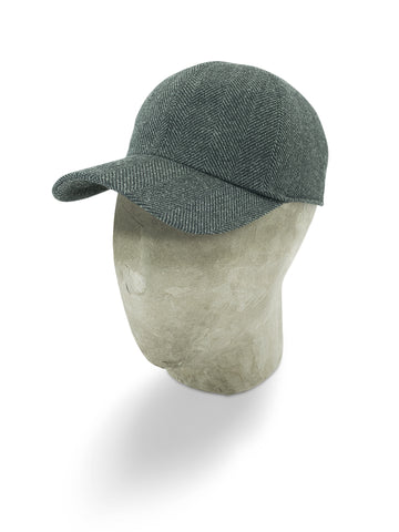 Grey Herringbone Wool Baseball Cap