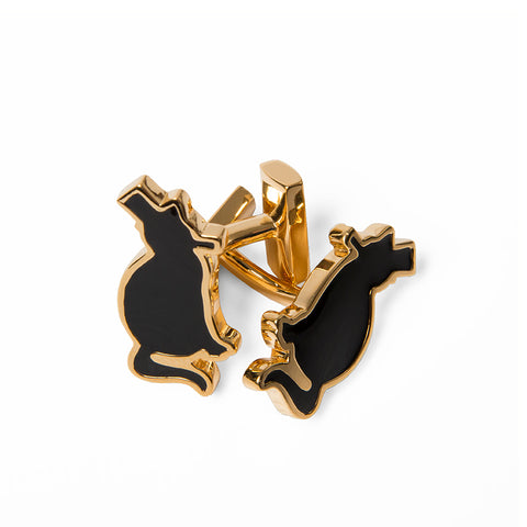 Black & Gold Enamel Binks Cufflinks