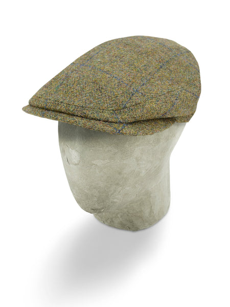 Green Woollen Twill With A Blue Overcheck Flat Cap