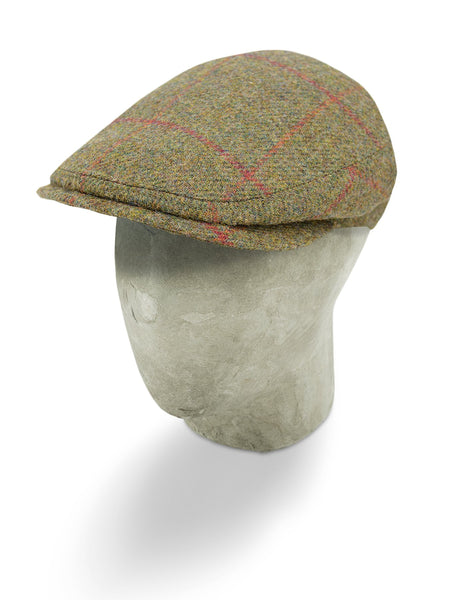 Green Woollen Twill With A Red & Orange Overcheck Flat Cap