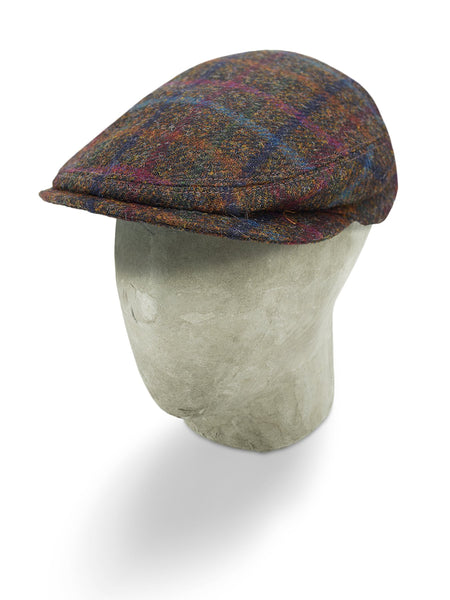 Brown & Multi Colour Check Woollen Twill Flat Cap