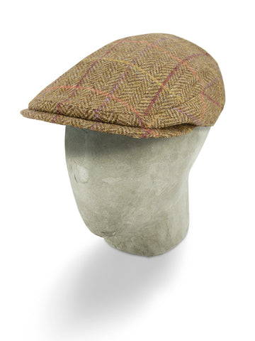 Brown Woollen Herringbone With An Orange, Lilac & Burgundy Overcheck Flat Cap