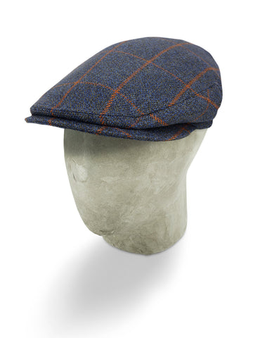 Navy Woollen Twill With An Orange Overcheck Flat Cap