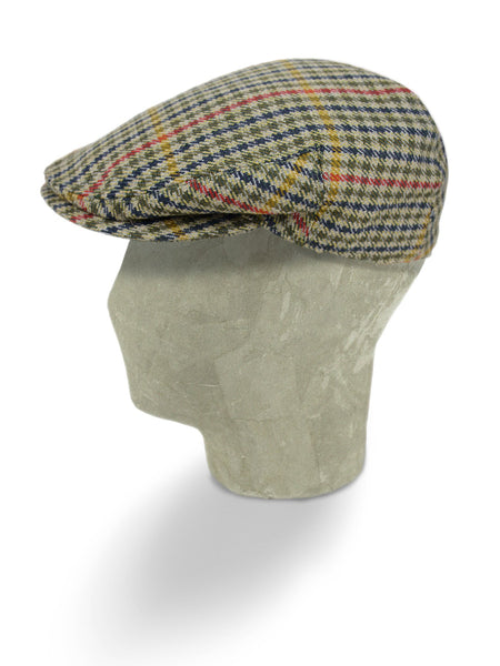 Beige & Multi Colour Check Woollen Twill Flat Cap