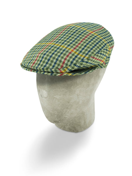 Cream Houndstooth Wool Flat Cap