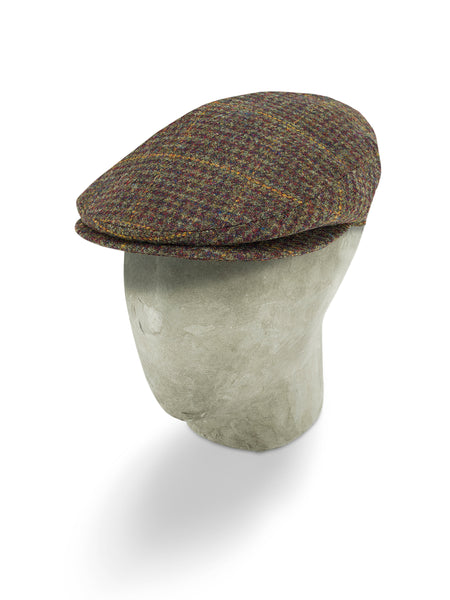 Red Twill Wool Flat Cap