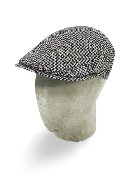 Black Houndstooth Check Cashmere Flat Cap