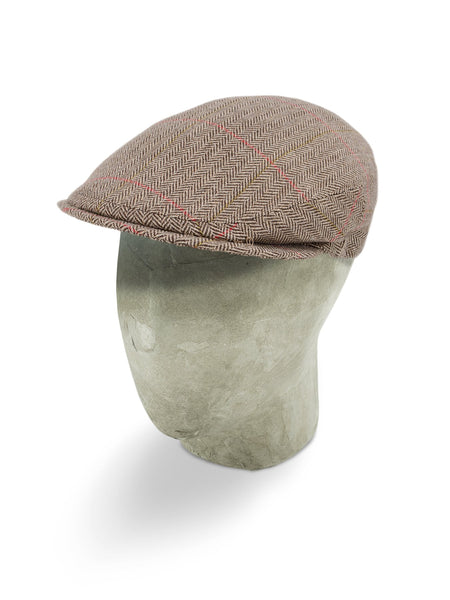 Brown Herringbone Cashmere Flat Cap