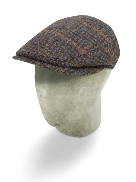 Green Woollen Twill With An Orange Overcheck Flat Cap