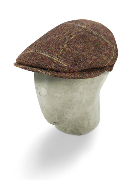 Brown Woollen Twill With A Green Overcheck Flat Cap
