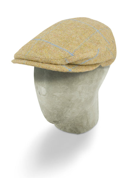 Beige Woollen Twill With A Light Blue Overcheck Flat Cap