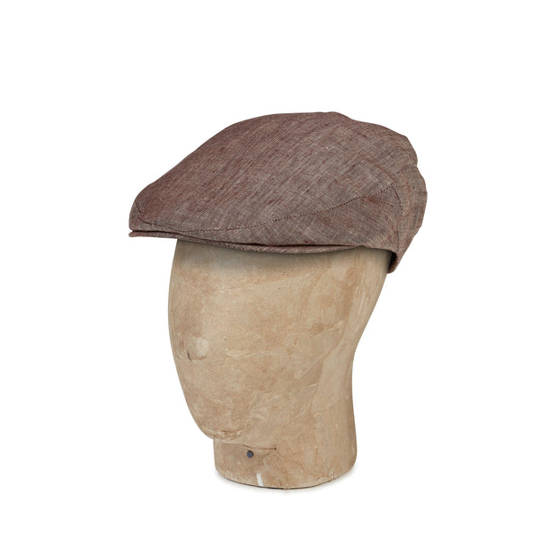 Plain Brown Linen Flat Cap