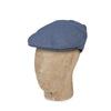 Plain Blue Cotton Hopsack Flat Cap