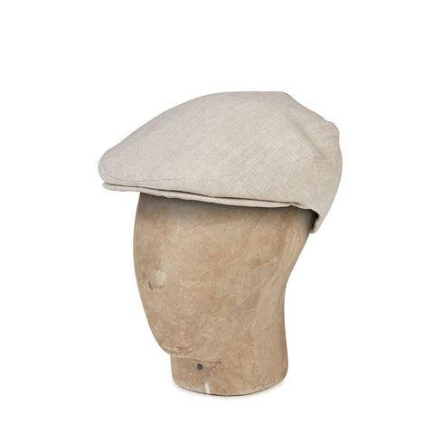 Plain Cream Linen Flat Cap