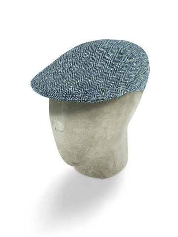 Blue Herringbone Wool Flat Cap