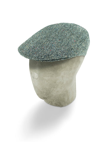 Black & Grey Herringbone Wool Flat Cap