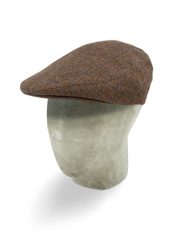 Brown Twill Wool/Cashmere Mix Flat Cap