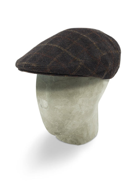 Brown Loden Flat Cap with a Cream & Orange Overcheck