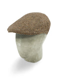 Brown Herringbone Wool Flat Cap