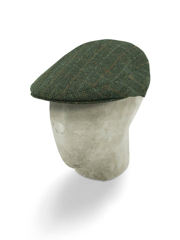 Green Herringbone Wool Flat Cap