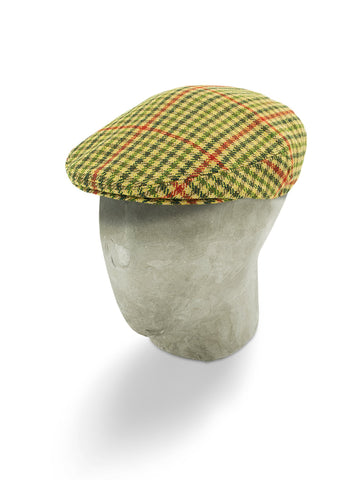 Cream Woollen Flat Cap with a Red & Green Houndstooth Overcheck