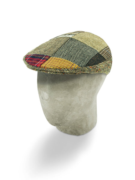 Brown Woollen Patchwork Flat Cap