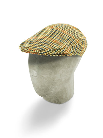 Cream, Blue & Red Woollen Houndstooth Flat Cap