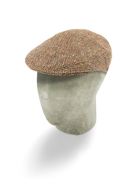 Red & Cream Woollen Herringbone Flat Cap