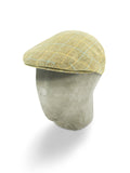 Cream Woollen Flat Cap with a Blue & Orange Overcheck