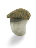 Moss Green Tweed Flat Cap with a Red, Orange & Brown Overcheck
