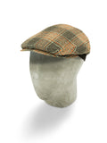 Brown & Orange Prince of Wales Check Woollen Flat Cap