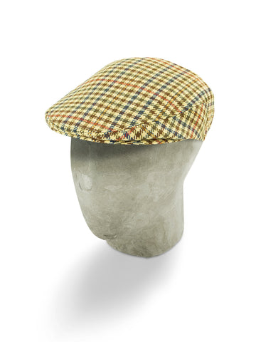 Cream Woollen Houndstooth Flat Cap with a Blue, Red & Brown Overcheck