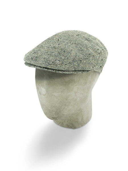 Cream & Navy Silk Herringbone Flat Cap