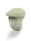 Light Green Silk Herringbone Flat Cap